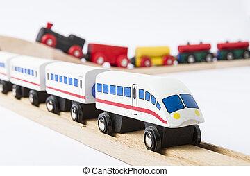 צעצוע מעץ, מאלף, ב, רכבת