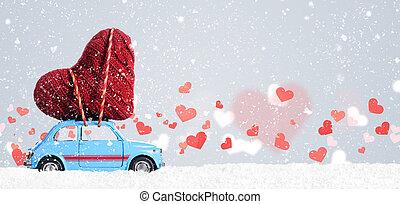 צעצוע של ראטרו, מכונית, עם, ולנטיין, לב