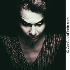 צפה, של, מפחיד, אישה, עם, קללה, עיניים