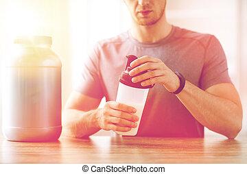 צרום, , בקבוק, זעזע, קרוב, חלבון, איש