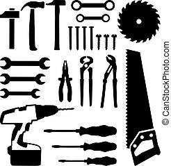 קבע, הברג, ציפורניים, -, משוך, מברג, ראה, קדוח, כלים