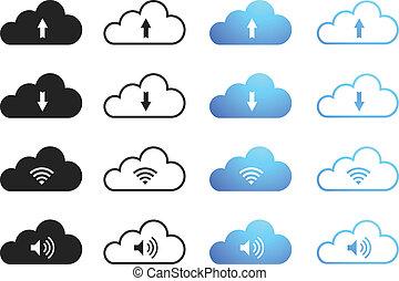 קבע, -, ענן, לחשב
