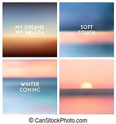 קבע, עננים, רקע, -, תקציר, רקעים, מטושטש, החף, צבעים, וקטור, ריבוע, 4, ים, אוקינוס, ססגוני, set., שמיים