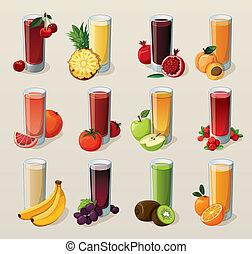 קבע, של, טעים, טרי, סחוט, juices.