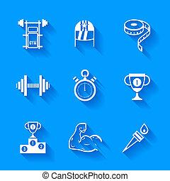 קבע, של, לבן, ספורט, icons.