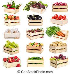 קבע, של, מעץ, קופסות, עם, ירקות, פירות, ו, עינבים
