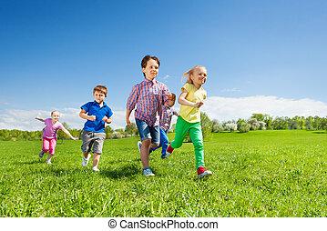 קבץ, חנה, לרוץ, ירוק, ילדים, שמח