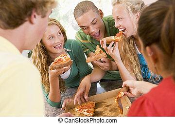 קבץ, לאכול, מתבגרים, פיצה