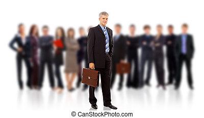 קבץ, עסק, אנשים., הפרד, רקע, לבן, מעל