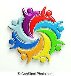 קבץ, צבע, לוגו, 8, ידידים, 3d