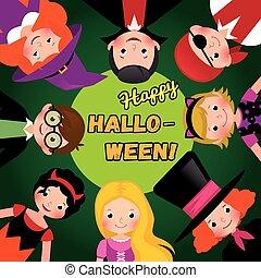 קבץ, קרנבל, halloween., תלבושות, דוגמה, וקטור, הזמנה, מפלגה, שמח, ילדים, אחסן