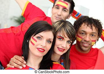 קבץ, של, צעיר, ספרדי, כדורגל, תומכים