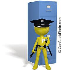 קבצים, שוטר, הגן על, כספת, שומר, בטחון, נתונים