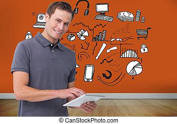 קדור, דמות מורכבת, צעיר, מחשב, לחייך איש