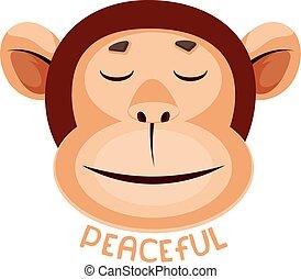 קוף, דוגמה, רקע., וקטור, שלומי, לבן, להרגיש