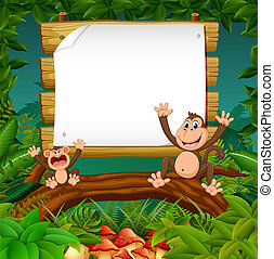 קוף, פסק, מעץ, טבע, שני, הבט, עלה, טופס, שמח, יער