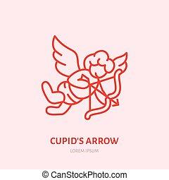 קופידון, עם קשת וחץ, קו שטוח, icon., יום של ולנטיינים, חגיגה, חתום