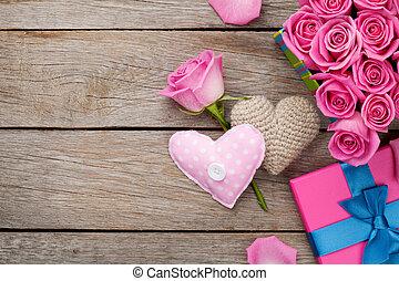 קופסה, ורוד, מלא, מתנה, *h*, ולנטיינים, ורדים, רקע, יום
