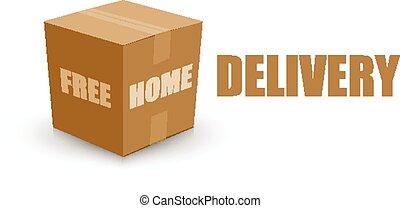 קופסה, חינם, משלוח, עלה, בית, כרטיס