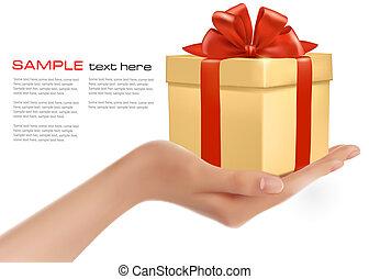 קופסה, כרע, אדום, מתנה, העבר