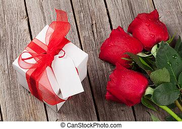 קופסה, מתנה, ולנטיינים, ורדים, יום, אדום