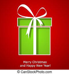 קופסה, מתנה, מודרני, דש, חג המולד, כרטיס של חג ההמולד