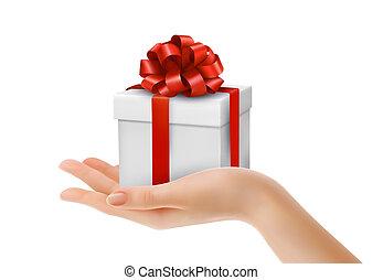 קופסה, קשת של מתנה, vector., ribbons., העבר, אדום
