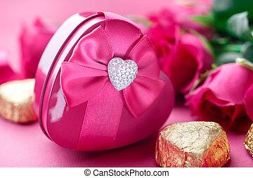קופסה של מתנה, ורדים ורודים, ו, ממתק, closeup., יום של ולנטיינים