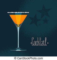 קוקטייל, שתה, כוס, וקטור, תפוז, מרטיני