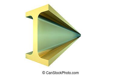 קורה של פלדה, זהב, -, הפרד, רקע, לבן, 3d