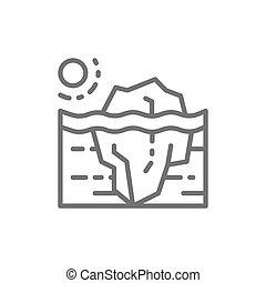 קו, גלובלי, קרחון, icon., לחמם