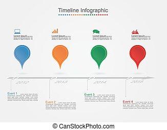 קו זמן, infographics, עם, icons., וקטור