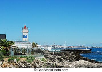 קו חוף, נוף, ב, cascais, פורטוגל