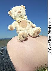 קטיפתי, אישה, שלו, בטן, בהריון