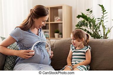 קטן, אזניות, אמא, ילדה, בהריון