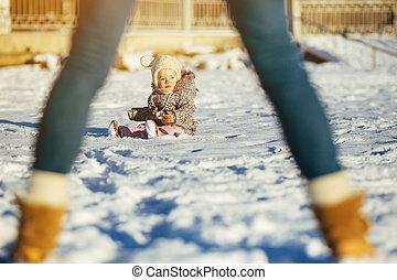קטן, השלג, ילדה, לשבת