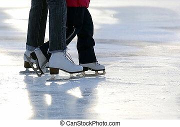 קטן, חלקלקה, אמא, רגל, ילדה, שלי, החלקה על קרח