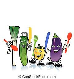 קטן, טגן, ירקות