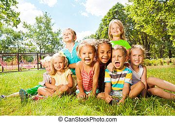 קטן, ילדים, קבץ, חנה, מדשאה, שמח