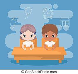 קטן, סטודנטים, בית ספר, הושב, שולחן, הספקות, חינוך