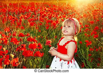 קטן, פרגים, תחום של שקיעה, בחוץ, כיף, דמות, לחייך ילדה,...