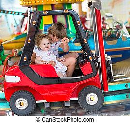 קטן, רכב, אחות, אח, *p*, תינוק, להנות, תענוג