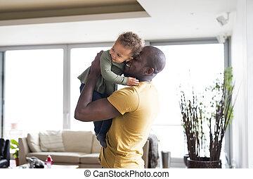 קטן, שלו, ילדה, אבא, אמריקאי של אפריקה, צעיר, home.
