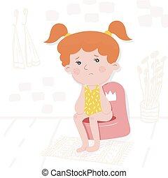 קטן, illustration., עצוב, girl., וקטור, ילדים