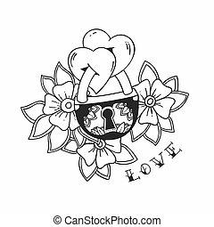 קיעקוע, אהוב, illustration., שני, מסורתי, מנעול, וקטור, לבבות, פרחים, style.