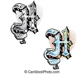 קיעקוע, סיגנון, רלבנטי, מכתב *h*, סמלים, incorporated