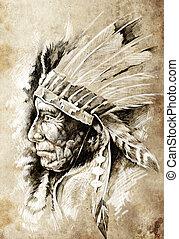 קיעקוע, רשום, בציר, סיגנון, ראש, הודי אמריקאי, הובל, אומנות, בן מקום