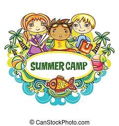 קיץ, אומנות, frame., סידרה, מחנה, ילדים