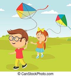 קיץ, בחוץ, לשחק, עפיפונים, ילדים