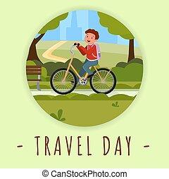 קיץ, בחוץ, צבע של אופניים, character., template., עיר, תקשורת, טייל, בידורי, יום, אופניים *רוכבים, תלמיד, דירה, בחור, סוציאלי, דוגמה, דגל, ציור היתולי, ללכת, בית ספר, רכז, חנה, פעילות